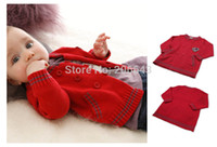 Wholesale 2014 New Baby Double Breasted Sweater Children s Hand Knitted Sweater Kid s Long Sleeve Sweater Boy s Cardigan Red Purple color