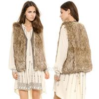 Wholesale 2014 NEW Women Faux Fur vests v neck brown pu piping outwears plus size hiden button fashion soft warm jacket outwears