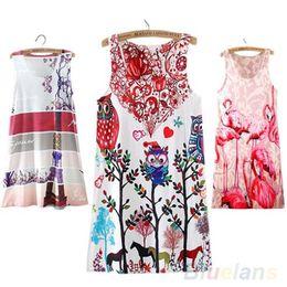 Wholesale Fashion Printed Summer Fashion Womens Sleeveless Cocktail Short Mini Dresses