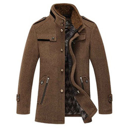 Wholesale 2015 New Winter Men s Slim Fit Wool Coat Outerwear Removable Fur Collar Warm Man Casual Jacket Overcoat Pea Coat Size M XXXL