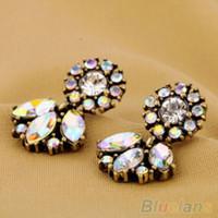 Wholesale Fashion Jewelry Bohemian Resin Crystal Flower Studs Earrings For Women
