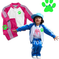 Wholesale set Brand girls boy sport costume Zipped jacket pants casual clothes for teens size