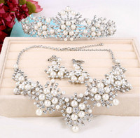 Wholesale Wedding Bridal Crystal Rhinestone White Pearls Crowns Hair Accessories Flowers Headband Beaded Tiara Pendant Necklace Earrings Jewelry Set