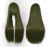 Cheap Top Quality 80cm Army Green Straight Long Heat Resistance Synthetic Cosplay Party Hair Wig Free Shipping