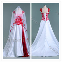 Wholesale Custom Red Lace White Wedding Dress Bridal Gown Cap Sleeve Train With Bridal Veil Lace Up Back