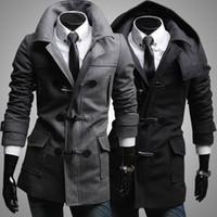 Wholesale 2014 New Winter Men s Detachable Hat Trench Coat Men Slim Fit Horn button Overcoat Casual Jackets Wool Coat Mens Pea Coat