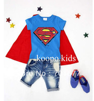 Wholesale New arrival shawl super man pattern t shirt jeans kids wear sportswear sweat suit children clothing set