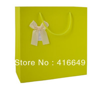 Cheap Free Shipping 20pcs lot 15*7*14CM Green paper gift bag, Festival gift bags, Paper bag with handles, wholesale price