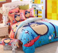 Cheap New 3D cartoon cat-bus bedding sets 4pcs bed set High Quality soft Thicken Sueded quilt cover childrens cotton duvet bedspread bed linen