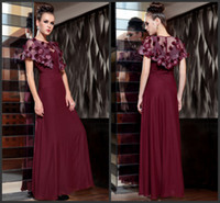 Wholesale High Quality Luxurious A Line Evening Dresses Slim Fashion Scoop Long Design Star Women s Married Wine Red Evening Dress