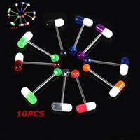 Cheap Free Shipping 10PCS Mixed Color Pill Style Tongue Nipple Bar Ring Barbell Body Piercing HOT