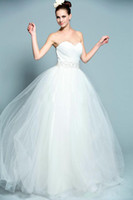 Cheap Strapless Sweetheart Neckline Pleated Beading Sashes Tulle A-Line Wedding Dress Bridal Gown Real Sample Model Shown