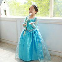 achat en gros de halloween costume usure-Nouveaux costumes de Frozen jupe manches longues princesse Elsa vêtements de fête vêtements pour robe de rêve Halloween Toussaint congelé Princesse (1701009)