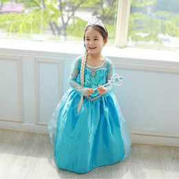 frozen elsa dress girl princess dress summer longs frozen elsa costume kids longsleeve diamond dress Elsa Costume dress(1701009)