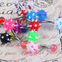 Wholesale 10PCS Set Button Bar Navel Belly Rings With Mix Color Silicone Koosh Balls Fashion Piercing Body Jewelry Body