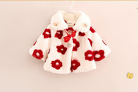 fleece clothing - Winter Girl Coat Fashion Fur Shawls Children Coats Outwear Big Flower Fleece Thicken Keep Warm Baby Kids Clothing WD66