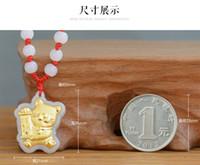 Wholesale Maneki neko fortune cat style gold jadeite pendant Grade A Jadeite emeralds natural jade fashion jewelry lockets charms