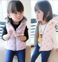 pink zebra - Autumn Winter Baby Waistcoat Korean Zebra Printing Children Girl Vest Down Coat Sleeveless Thikcen Pink Purple Small Kids Coats WD150