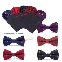 Wholesale Retail Men s Skull Embroidery Pre Folded Pocket Square Hanky on Card Bowtie Set