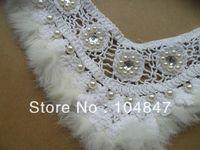 Wholesale pc white faux fur cotton sequin pearl V collar applique patch trim DIY sewing dress shirt doll craft D1454