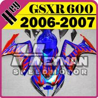 Wholesale Suzuki Gsxr Fairing Orange K6 - Heymanspeedmotor Injection Mold Fairings For Suzuki GSXR600 GSX-R 600 GSXR 600 750 2006-2007 06 07 K6 Blue Orange Flames S66H43+5 Free Gifts