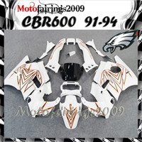 Cheap for honda CBR600 F2 91 92 93 94 91-94 Years white ABS Plastic Bodywork Set CBR600F2 CBR 600 F2 600F2 1991 1992 1993 1994 ABS Fairings Set W1