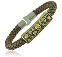 Wholesale Men bracelet New Fashion Leather PU and Stainless Steel statement skull Bracelet for men