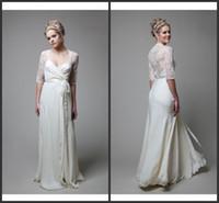 Cheap 2014 Spring White Applique Plunging Neckline Sheer Back A-line Floor Length 1 2 Sheer Sleeve Ribbon Pleats Chiffon Beach Wedding Dress