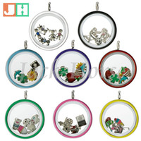 Wholesale Water Proof mm screw locket mixed color L stainless steel locklet enamel floating locket pendant