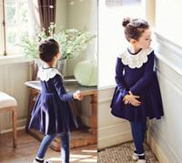 Lace Flower Neck Dress Autumn Children Girls Long Sleeve Dre...