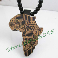 africa wood necklace - Africa Map Pendant Good Wood Hip Hop Wooden NYC Fashion Necklace MG302