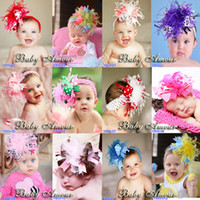 artificial feathers wholesale - 2014 Baby Girls boys ostrich feather Headbands Lovely kids girl colorful Bow hairbands for toddlers