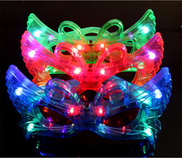LED Butterfly Flash Glasses Light Up Rave Toys For Halloween Masquerade Mask Dress Up Christmas Party Decoration Supplies