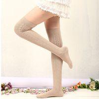 Wholesale 2014 Winter New Striped Knee Socks Warm Socks cotton Lady Boots Fashoin socks in Womens socks