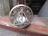 Wholesale silver Harry Potter Deathly Hollows bronze flower pocket watch pendant necklace with charm chain jewelry Jewelry Pendant men s gift