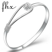 Wholesale 925 sterling silver rose cuff bracelet fashion bangle for woaman best sell SS001