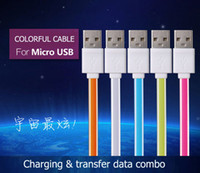 Cheap Colorful Micro USB Charger Cable 1M 3FT Data Sync Charging Small Noodle Cables For Samsung galaxy S5 S4 S3 Note2 HTC And sony NEXUS By DHL