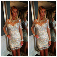 Wholesale Latest Designs Sheer Cocktail Dresses Glitter Long Sleeve Rhinestone Short Dress With Crystals Nude Backless Woman Dress Party