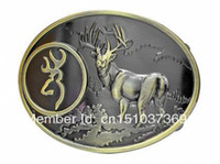 Wholesale Bronze Buck Hunter Deer Hunting Belt Buckle Bow Western
