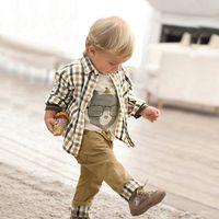 Cheap Wholesale 2014 autumn winter new Baby, Kids Clothing Children's boys long shirt short T-shirt +pants 3 set NH-011