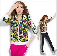 Cheap 2014 New fashion High quality women's autumn tracksuits women 6colors sport suits sportwear casual jacket +Pants clothing set