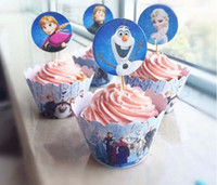 Wholesale Frozen Party Decorations Event Cupcake Wrappers Elsa Anna Princess Kristoff Cup Cake Toppers Picks Kids Birthday Supplies Party Favors