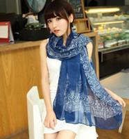 Wholesale Autumn winter printed beautiful elegant blue and white porcelain chiffon scarves cashmere scarf