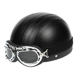 Wholesale MRC WINTER Black Leather ABS Material Motorcycle Half Helmet With The Harley Style Lens