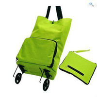 Folding Plain Polyester Free shipping 10pcs lot Portable foldable trolley bag shopping bag