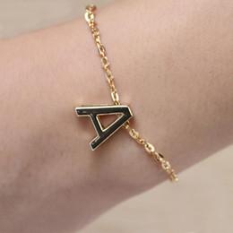 Plaqué or lettres Bracelet chaîne de charme initial Bracelet Mode féminine cadeau de bijoux de A à Z initial charm bracelets deals à partir de bracelets de charme initiales fournisseurs