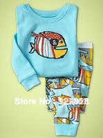 Wholesale Skull Fish Baby Children Cotton Knit Rib long sleeve T shirt pant pajamas sleepwear clothing sets
