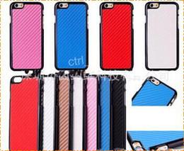 Wholesale For iphone iphone plus Carbon case Fiber Leather Electroplate Grain Metal Aluminum Chrome Hard Vertical Case