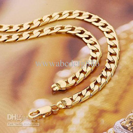 Wholesale - Fine jewellery Splendid men's 14k Yellow gold filled necklace solid chain 23.6inch Figaro Chain