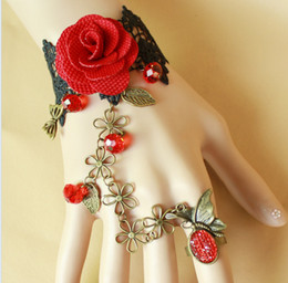 Wholesale Bronze butterfly black lace gothic retro red roses female bracelet with ring
